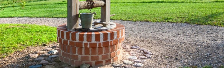 Retro wooden well water